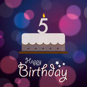 Happy 5th Birthday - Bokeh Vector Background with cake. — Stock Vector