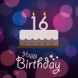 Happy 16th Birthday - Bokeh Vector Background with cake. — Stock Vector #51186097