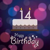 Happy 14th Birthday - Bokeh Vector Background with cake. — Stock Vector