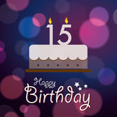 Happy 15th Birthday - Bokeh Vector Background with cake. — Stock Vector