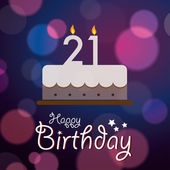 Happy 21st Birthday - Bokeh Vector Background with cake. — Vecteur