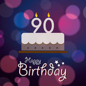 Happy 90th Birthday - Bokeh Vector Background with cake. — Stock Vector