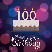 Happy 100th Birthday - Bokeh Vector Background with cake. — Stock Vector