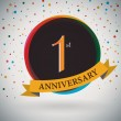 1st Anniversary poster , template design in retro style - Vector Background — Stock Vector