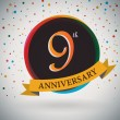 9th Anniversary poster, template design in retro style - Vector Background — Stock Vector #51212885