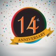 14th Anniversary poster, template design in retro style - Vector Background — Stock Vector #51213149