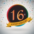 16th Anniversary poster, template design in retro style - Vector Background — Stock Vector #51213205