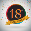 18th Anniversary poster, template design in retro style - Vector Background — Stock Vector