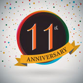 11th Anniversary poster, template design in retro style - Vector Background — Stock Vector