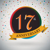 17th Anniversary poster, template design in retro style - Vector Background — Stock Vector