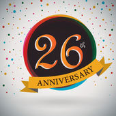 26th Anniversary poster, template design in retro style - Vector Background — Stock Vector