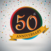 50th Anniversary poster, template design in retro style - Vector Background — Stock Vector