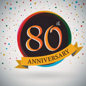 80th Anniversary poster, template design in retro style - Vector Background — Stock Vector