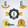 6 Years of service, 6 years . Celebrating 6 years , 6th Anniversary - Set of Retro vector Stamps and Seal for business — Stock Vector #51325933
