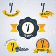 7 years of service,  7 years . Celebrating 7 years , 7th Anniversary - Set of Retro vector Stamps and Seal for business — Stock Vector #51325959