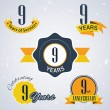 9 years of service, 9 years . Celebrating 9 years , 9th Anniversary - Set of Retro vector Stamps and Seal for business — Stock Vector #51326047