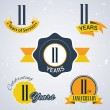 11 years of service, 11 years . Celebrating 11 years , 11th Anniversary - Set of Retro vector Stamps and Seal for business — Stock Vector #51329017