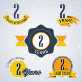 2 Years of service, 2 years . Celebrating 2 years , 2nd Anniversary - Set of Retro vector Stamps and Seal for business — Stock Vector
