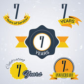 7 years of service,  7 years . Celebrating 7 years , 7th Anniversary - Set of Retro vector Stamps and Seal for business — Stock Vector