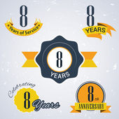 8 years of service, 8 years . Celebrating 8 years , 8th Anniversary - Set of Retro vector Stamps and Seal for business — Stock Vector