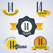 14 years of service, 14 years . Celebrating 14 years , 14th Anniversary - Set of Retro vector Stamps and Seal for business — Cтоковый вектор
