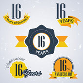 16 years of service, 16 years . Celebrating 16 years , 16th Anniversary - Set of Retro vector Stamps and Seal for business — Stock Vector