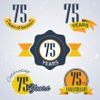 75 years of service, 75 years . Celebrating 75 years , 75th Anniversary - Set of Retro vector Stamps and Seal for business — Stock Vector #51331111