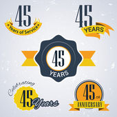 45 years of service, 45 years . Celebrating 45 years , 45th Anniversary - Set of Retro vector Stamps and Seal for business — Stock Vector