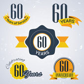 60 years of service, 60 years . Celebrating 60 years , 60th Anniversary - Set of Retro vector Stamps and Seal for business — Stock Vector