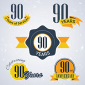 90 years of service,  90 years . Celebrating 90 years , 90th Anniversary - Set of Retro vector Stamps and Seal for business — Stock Vector