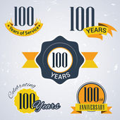 100 years of service, 100 years, Celebrating 100 years, 100 th Anniversary - Set of Retro vector Stamps and Seal for business — Stock Vector