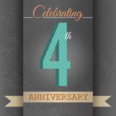 4-й годовщины плакат, шаблон дизайна в стиле ретро - векторный фон — Cтоковый вектор