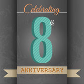 8th Anniversary poster , template design in retro style - Vector Background — Stock Vector
