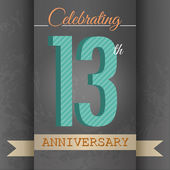 13th Anniversary poster , template design in retro style - Vector Background — Stock Vector