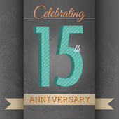 15th Anniversary poster , template design in retro style - Vector Background — Stock Vector