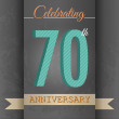 70th Anniversary poster , template design in retro style - Vector Background — Stock Vector