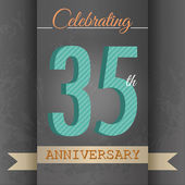 35th Anniversary poster , template design in retro style - Vector Background — Stock Vector