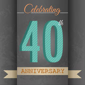 40th Anniversary poster , template design in retro style - Vector Background — Cтоковый вектор