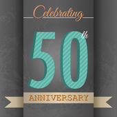 50th Anniversary poster , template design in retro style - Vector Background — Stock Vector