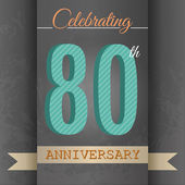 80th Anniversary poster , template design in retro style - Vector Background — Stock Vector