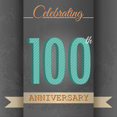 100th Anniversary poster , template design in retro style - Vector Background — Stockvector