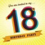 18th Birthday party invite, template design in retro style - Vector Background — Stock Vector #51520699