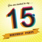 15th Birthday party invite, template design in retro style - Vector Background — Stock Vector