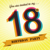 18th Birthday party invite, template design in retro style - Vector Background — Wektor stockowy