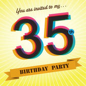 35th Birthday party invite, template design in retro style - Vector Background — Stock Vector
