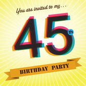 45th Birthday party invite, template design in retro style - Vector Background — Stock Vector