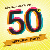 50th Birthday party invite, template design in retro style - Vector Background — Stock Vector