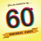 60th Birthday party invite, template design in retro style - Vector Background — Stock Vector