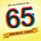 65 urodziny strona zaprosić, szablon projektu w stylu retro - tło wektor — Wektor stockowy