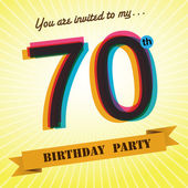 70th Birthday party invite, template design in retro style - Vector Background — Stock Vector